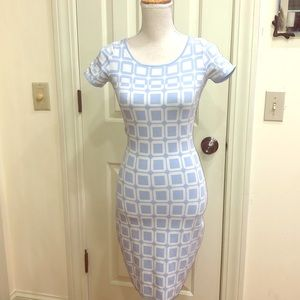Ballario abstract light blue and white dress